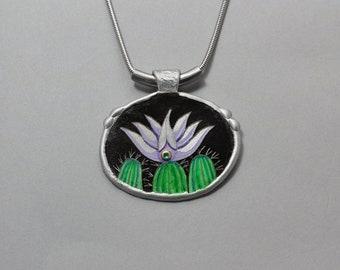 Lavender Cactus Bloom Pendant, Aluminum Southwest Jewelry by Arizona Artist, Monte Voepel