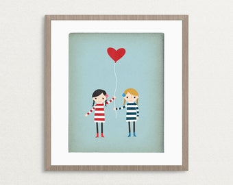 Love Is In The Air - Girls - Customizable 8x10 Archival Art Print