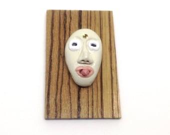 Miniature 'tribal' mask - handmade - OOAK- tongue sticking out