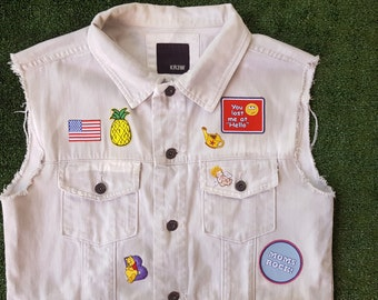 Patched Denim Vest, Patches, Distressed, Jean Jacket, Punk Grunge, White Denim, Size Large, Pineapple Pooh Bear Pokemon Smiley Face