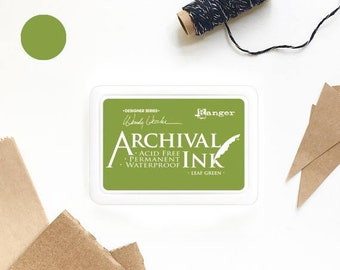 GREEN ink pad, Ranger ink pad, leaf green ink, green ink pad, rubber stamp ink pad, acid free, non-toxic, waterproof, permanent, nature