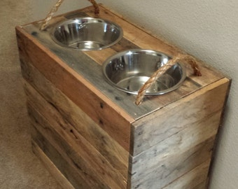 """15"""" Tall Custom Dog Bowl Stand w/ Removable Lid"""