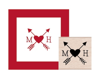 Arrows Crossed with Initials Personalized Rubber Stamp