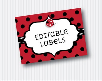 Instant Download - Editable PDF Printable - Ladybug / Ladybird Label / Sticker / Tent Card / Tags - DIY - Red Black
