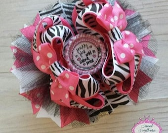 Pretty in Pink, Wild in Zebra Print Stacked Boutique Bow - Hair Bow