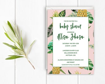 Tropical Baby Shower Invitation, Palm Leaf, Pineapple, Printable Invite, Pink
