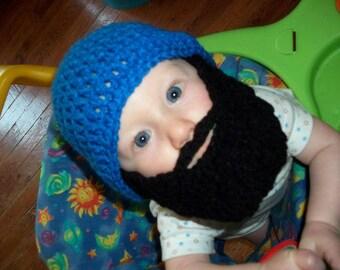 Baby Beard Beanie, Baby Beard Hat, Infant Beard Hat, Infant Beard Beanie, Toddler Beard Hat, Hat With Beard, Lumberjack Toy, Christmas