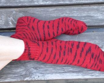 Hand knitted women's fishnet Socks for her red wine oxblood