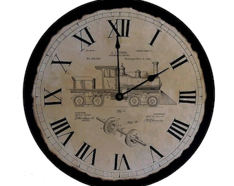 Train Clock | Train Patent | Gift | Train Art| Train | Train Clock | Locomotive | Unique Clock | Patent Artwork