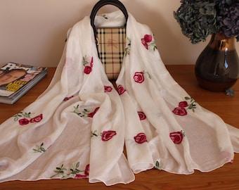 Embroideried silk Scarf/ Handmade/VanPhuc silk /Hadong Silk scarves/Vietnamese silk / Holiday gift/Wedding gifts/Valentine's Gift