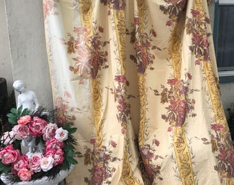 Vintage Curtain Drape Panel French Fabric Style Floral yellow Pink