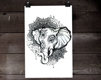 Hand Drawn highly detailed Bohemian Screen Print Poster