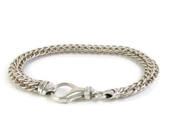 Silver Chainmaille bracelet, Silver Link Bracelet, Mens silver bracelet, Heavy Chain Bracelet, mens cuff bracelet, Silver Chain Bracelet