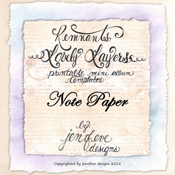 Remnants ~ Lovely Layers Printable Mini album Template in Note Paper & PLAIN