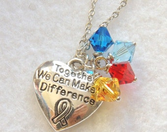 READY TO SHIP, Together We Can Make a Difference Necklace, Autism Awareness Necklace, Swarovski Crystals, April gift, Thank you gift