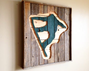 Snowboarder Wall Hanging from Reclaimed Wood, Snowboarder Wall Decor