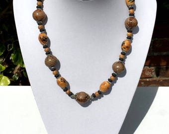 Chunky Beaded Necklace, Handmade Necklace