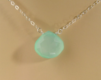 Seafoam Chalcedony Briolette and Sterling Necklace
