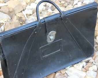 Rexbilt Vintage Leder kurze Fall große WWII Militär Offiziere Tasche schwarz