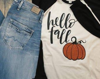 Hello Fall Raglan T-Shirt - GLITTER!!