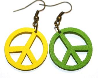 Wooden Peace Sign Earrings