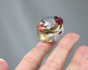 miniatures, lady bug paper weight, mini goldstone paperweight, abstract glass petals, miniature paperweight, small paper weight, 104 glass