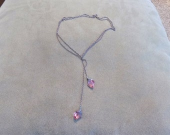 Pink Wire Wrapped Lariat/Negligee Necklace