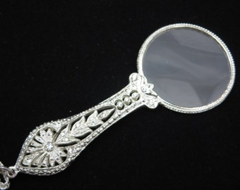 Joan Rivers Jewelry - Magnifying Glass Necklace, Silver Filigree Rhinestones, Victorian Revival, Costume Jewelry