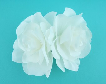 Double Hair Flower, Gardenia Hair Flower, wedding hair accessories, wedding flower clip, hair flower clip, ivory hair flower