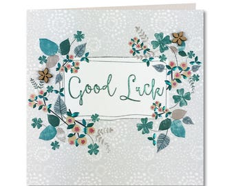 SALE 20% OFF New Chroma Collection - Good Luck Card - Four leaf clover - Good Luck - Hand finished Greeting Card - CH66
