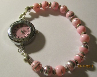 Interchangeable Beaded Watch Band or Medical ID Tag Bracelet....Pretty in Pink....  With Watch
