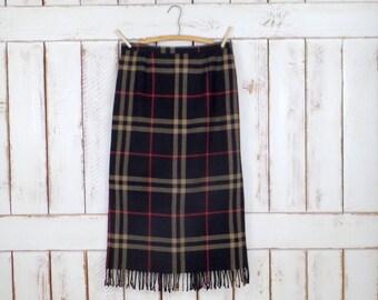 Black/tan/red plaid woven fringe boho skirt/long fringe Tartan kilt blanket skirt/medium/large