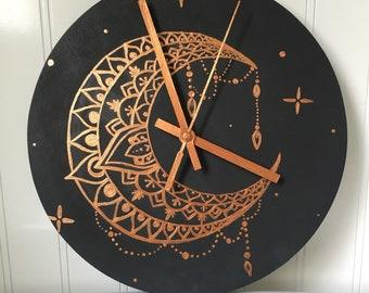 Mandala Moon Clock (hand painted)