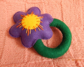 Purple flower. Felt toy with rattle for babies. A great gift for babies.