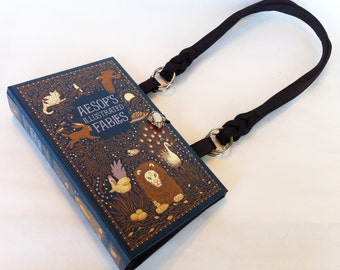 Aesop Fables Recycled Book Purse - Bedtime Stories Book Purse - Fairy Tales Purse - Book Cover Pocketbook