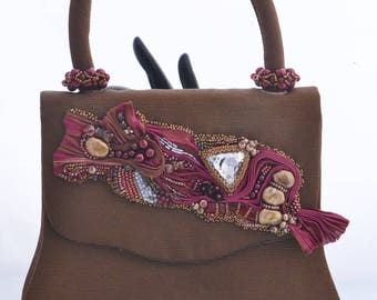 Elegant Evening Purse Shibori Ribbon and Swarovski Crystal Embellished Bag Bead Embroidery Womens Birthday Gift or OOAK Gift for Her
