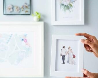 Wedding portrait - Bride and groom portrait - wedding portrait - wedding dress and suit illustration