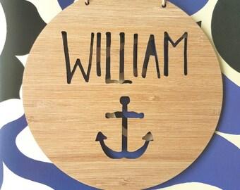 Personalised Name Wooden Wall-Door Hanging-14cm-19.5cm-anchor-Nautical-plaque-kids room-bedroom-wall art-wall hanging-custom-navy