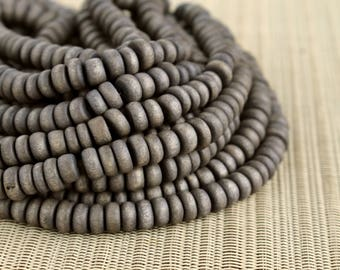 8mm Dark Gray Wood Pucalet Rondelle Beads - Dyed and Waxed - 15 inch strand