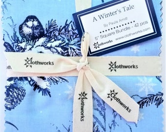 """A WINTER'S TALE Square Bundle from Clothworks - (42) 5"""" fabric squares - SQ0143"""