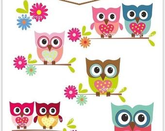ON SALE owl clip art, INSTANT Download Digital clip art owls, love owls