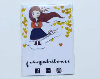 Autumn - Fall Girl Magnetic Book Mark - Page Marker