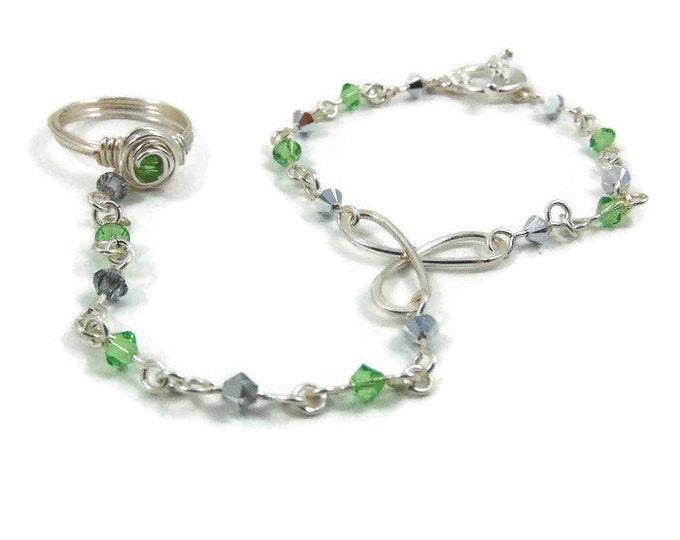 August Birthstone Slave Bracelet Ring Attached Peridot Green & Silver Swarovski Crystals