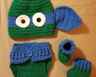 Ninja Turtle Crochet Newborn Set
