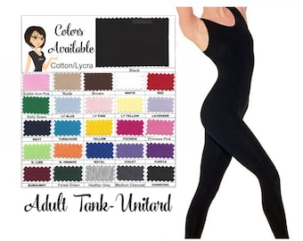 UNITARD /Adult ---Tank- Unitard....Colors Available great for COSTUMES/HALLOWEEN