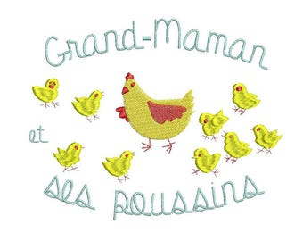Hen and Chick embroidery design