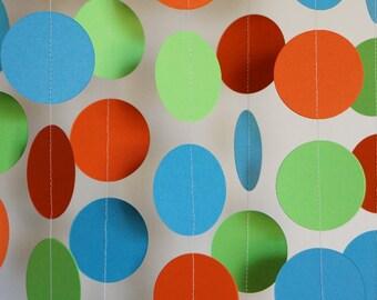 Birthday Decorations, Blue, Green & Orange Garland, 1st Birthday Party, Paper Garland, Boy's First Birthday Party, 10 ft. long