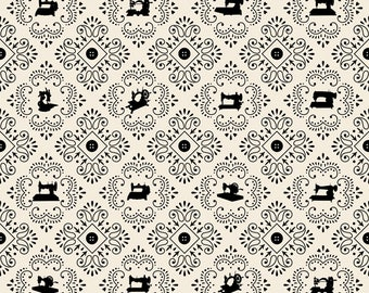 1/2 yd Cute as a Button SEWING MACHINE MEDALLIONS by Quilting Treasures Fabric  24830 -E