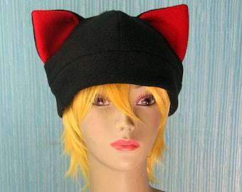 Fleece Cat Hat / BLACK + RED Inner Ears Beanie Style Cap Cute Anime Neko Cosplay Kitty Cat Ears Kawaii Fashion