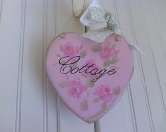 Pink Cottage Shabby Chic Heart Rose Wall Hanger